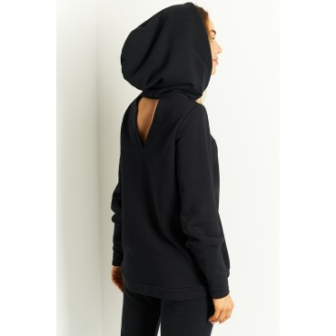 Kokvilnas džemperis ar kapuci Lemoniade L401A black