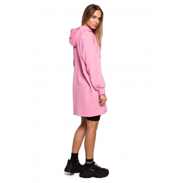 Kleita ar augstu apkakli un kapuci Moe M615 pink